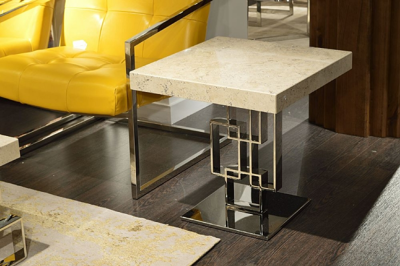 Stone International Windows Marble Occasional Tables with Polished Stainless Steel Base
