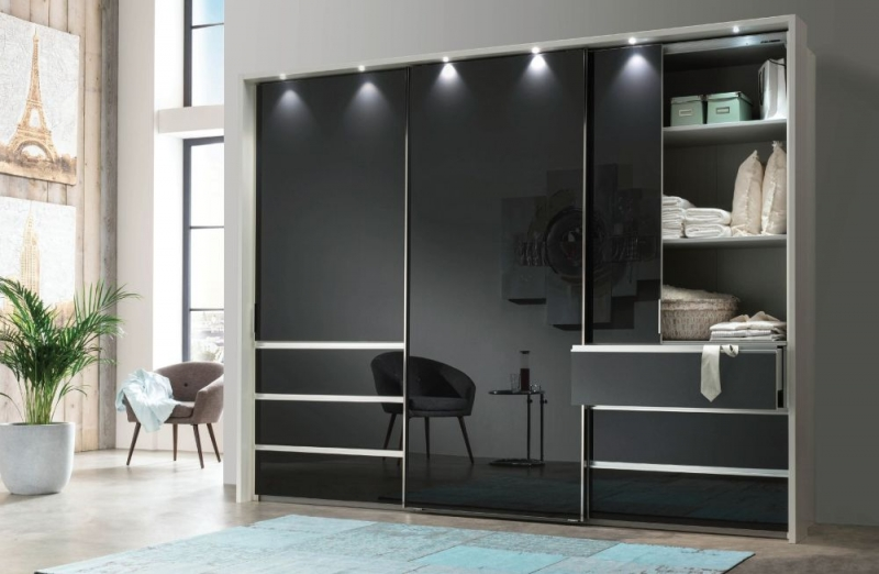 Wiemann VIP Malibu Sliding Wardrobe with Graphite Glass Front
