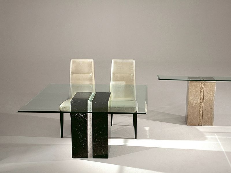 Stone International Artistica Marble Base Dining Table with Glass Top