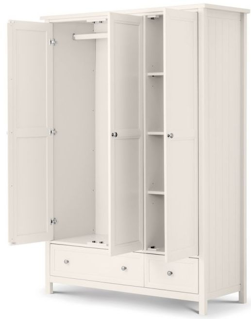Julian Bowen Maine White 3 Door 2 Drawer Wardrobe