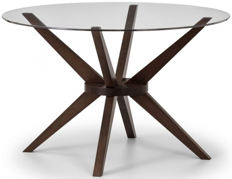 Julian Bowen Chelsea Walnut and Glass 120cm Round Dining Set with 4 Cayman Chairs