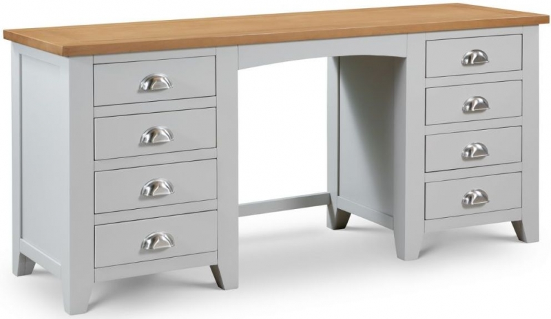 Julian Bowen Richmond Grey Painted 8 Drawer Double Pedestal Dressing Table with Stool