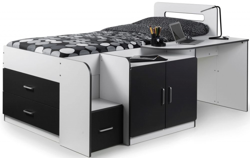 Julian Bowen Cookie Cabin Bed - White and Charcoal