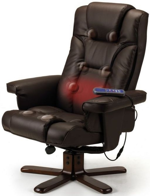 Julian Bowen Malmo Black Faux Leather Massager Recliner Chair and Stool