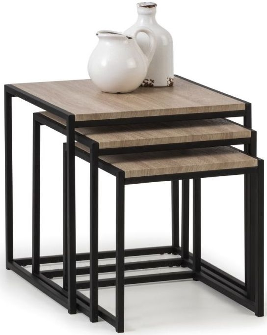 Julian Bowen Tribeca Sonoma Oak and Black Metal Nest of Table