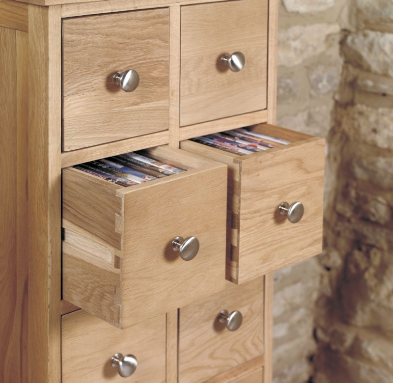 Baumhaus Mobel Oak Multi Drawer CD and DVD Storage Chest
