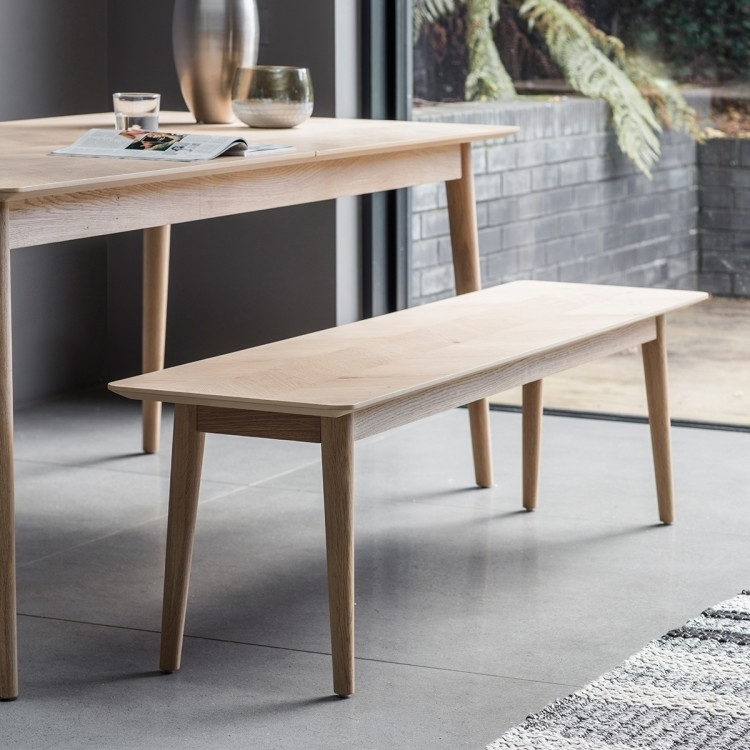 Gallery Direct Milano Extending Dining Table with 4 Finchley Grey Chairs and Bench - Oak