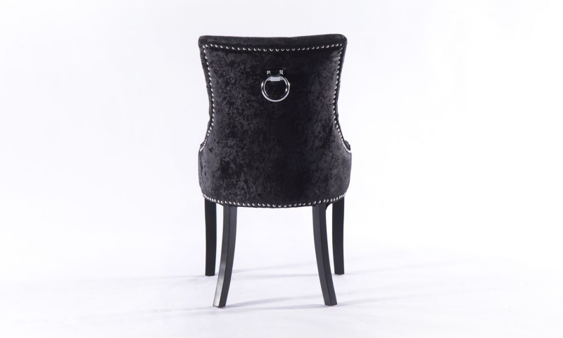 Black Crushed Velvet Knockerback Dining Chair (Pair)