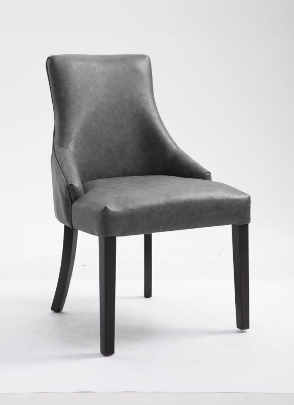 Loire Grey Faux Leather Dining Chair (Pair)