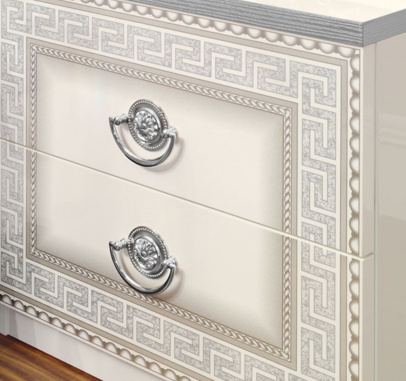 Camel Aida White and Silver Italian 2 Drawer Bedside Cabinet