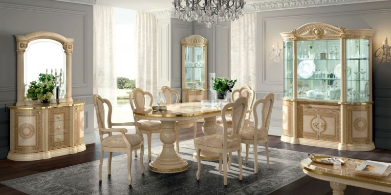 Camel Aida Day Ivory Italian Oval Extending Dining Table