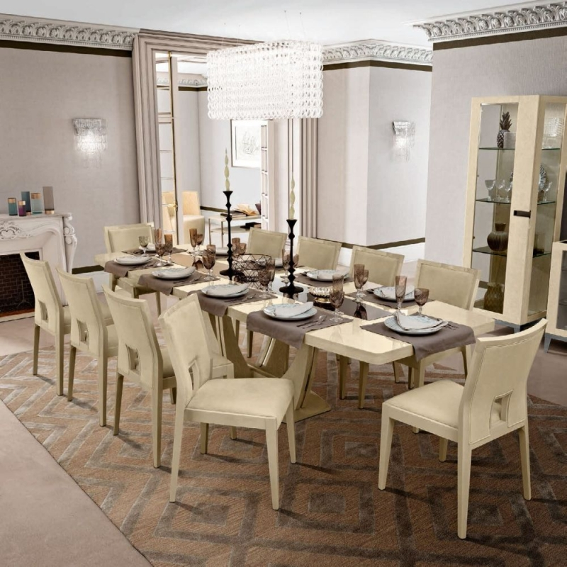 Camel Ambra Day Sand Birch Italian Large Extending Dining Table