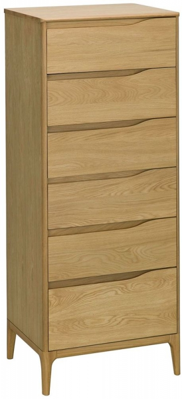 Ercol Rimini Oak 6 Drawer Tall Chest