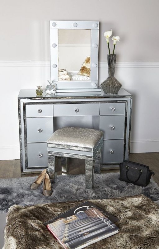 Montague Double Pedestal Dressing Table - Grey Mirrored
