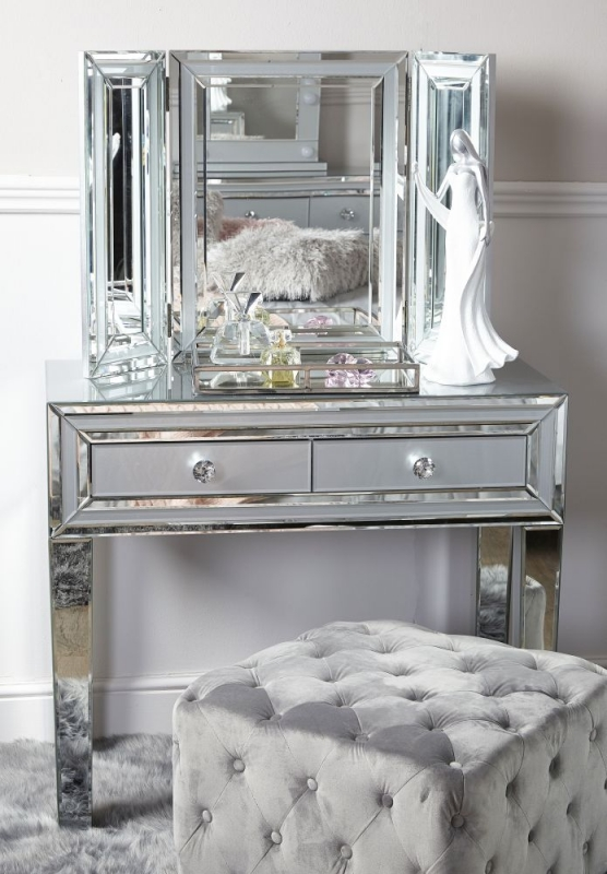 Montague Console Table - Grey Mirrored