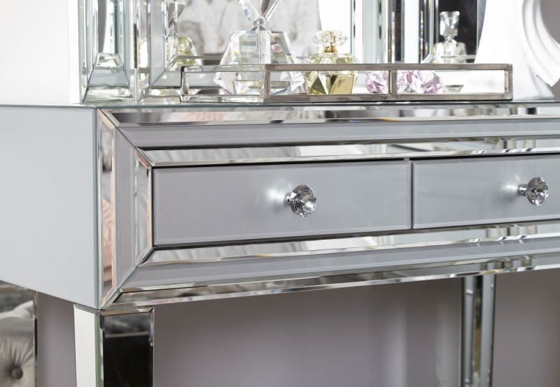 Montague Grey Mirrored 2 Drawer Console Table