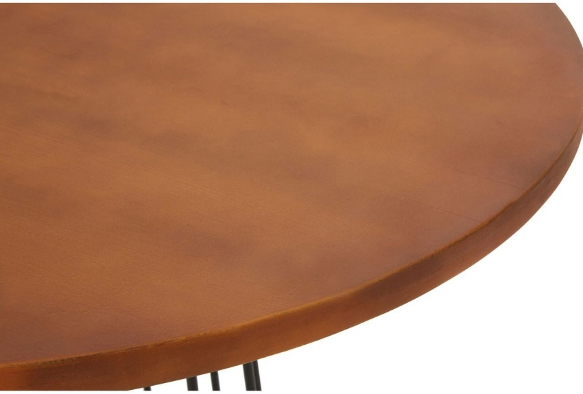 New Foundry Natural Wood Round Dining Table with Black Metal Base - 90cm