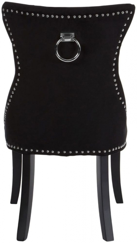 Vogue Tufted Button Black Cotton Fabric Dining Chair (Pair)
