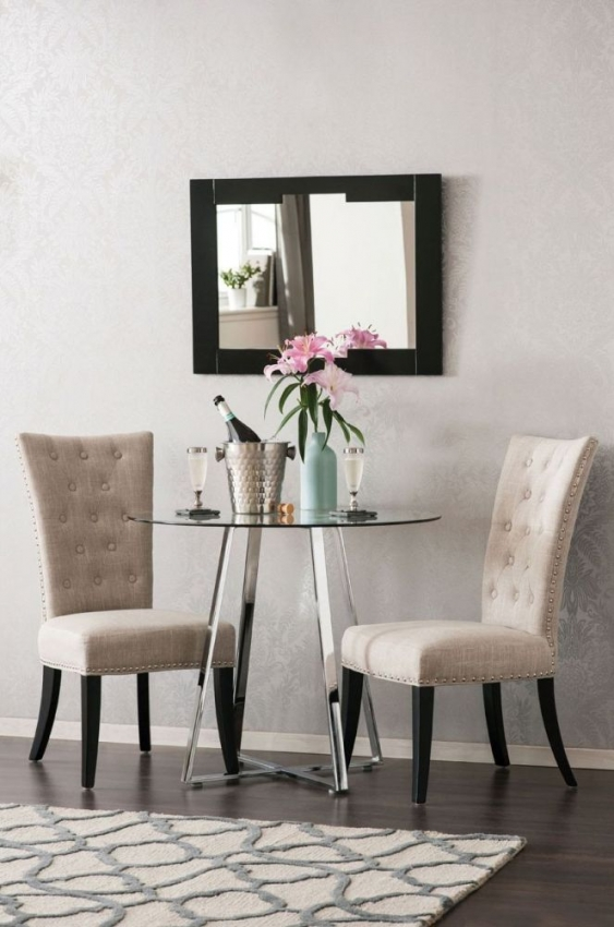 Regents Park Natural Fabric Tufted studded Dining Chair (Pair)