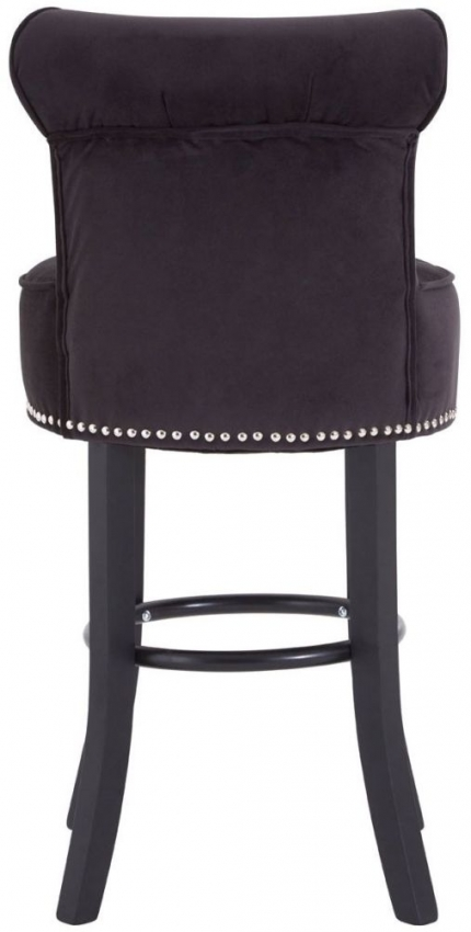 Regents Park Tuffted Button Black Fabric Bar Chair
