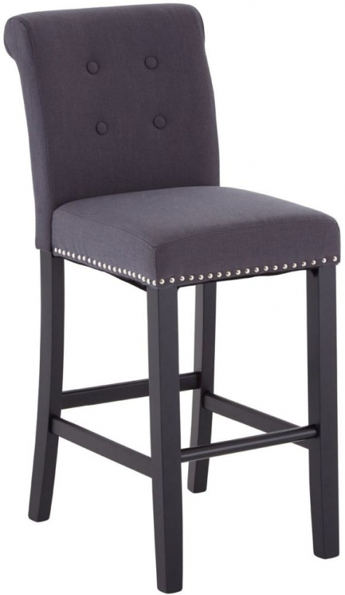 Vogue Tuffted Button Grey Fabric Bar Chair