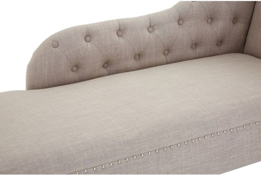 Regents Park Tuffted Button Natural Fabric Chaise Longue