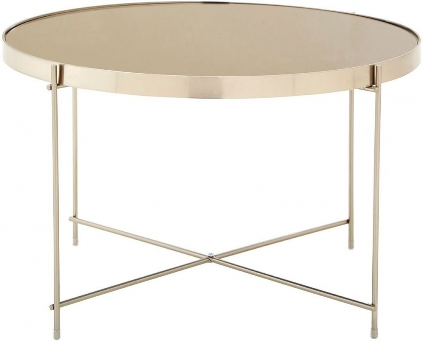 Allure Side Table - Grey Glass and Brushed Nickel Metal