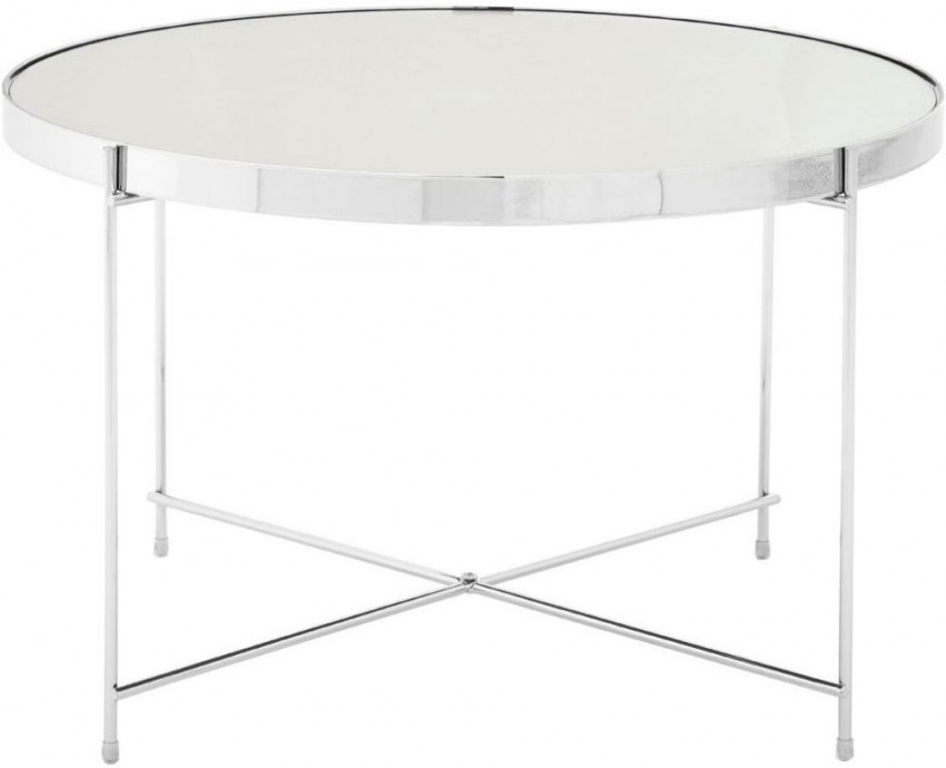 Allure Silver Glass Side Table with Chrome Metal Legs
