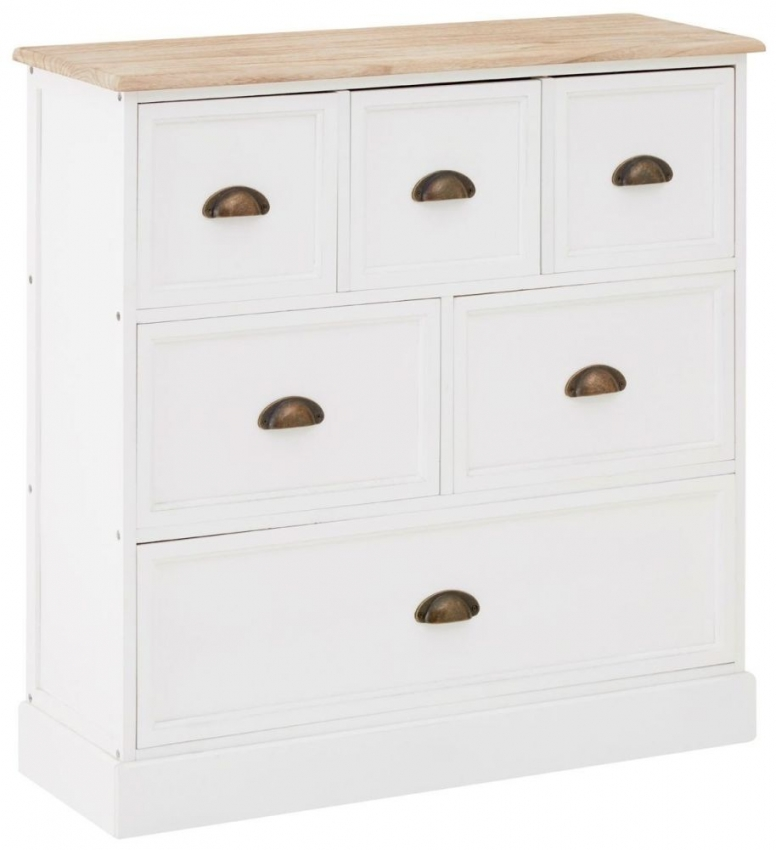 Austin Natural Wood and White 6 Drawers Chest