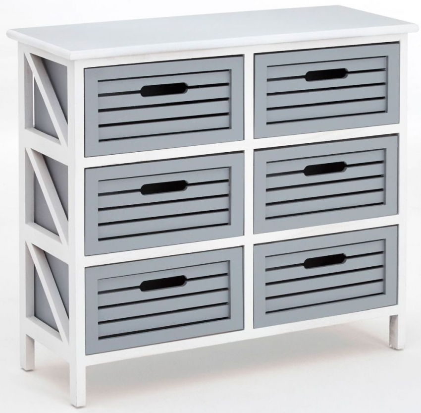 Vermont Grey and White 6 Drawer Unit