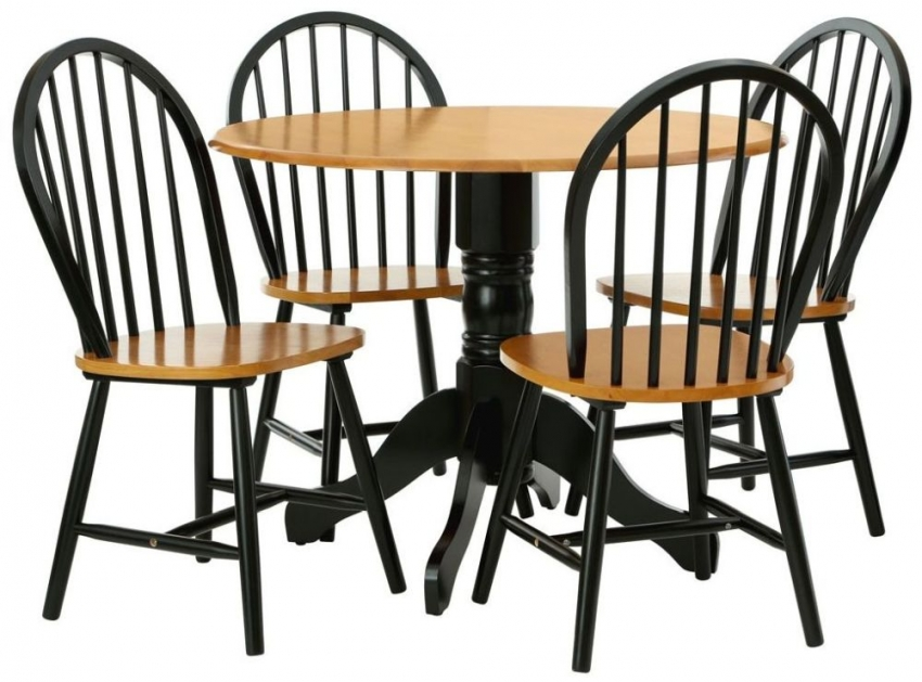 Vermont Oakland Round Dining Table - Oak and Matte Black