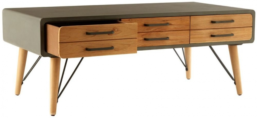 Trinity Golden Fir Wood and Iron 6 Drawer Storage Coffee Table