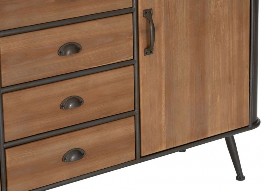 Trinity Natural Fir Wood and Metal 2 Door 4 Drawer Cabinet