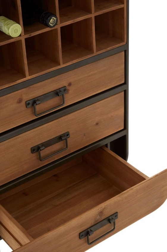 Trinity Golden Fir Wood and Metal 3 Drawer Bar Cabinet