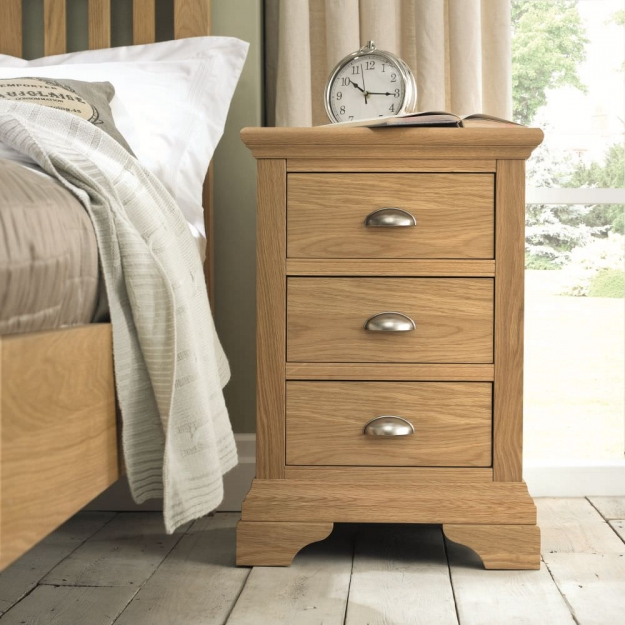 Bentley Designs Hampstead Oak Bedside Cabinet - 3 Drawer