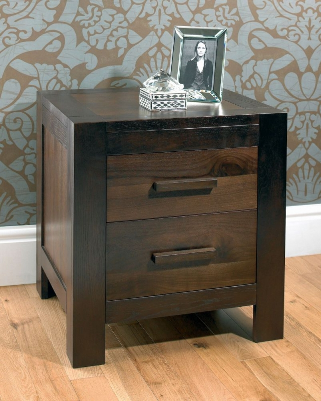 Bentley Designs Lyon Walnut Bedside Cabinet - 2 Drawer