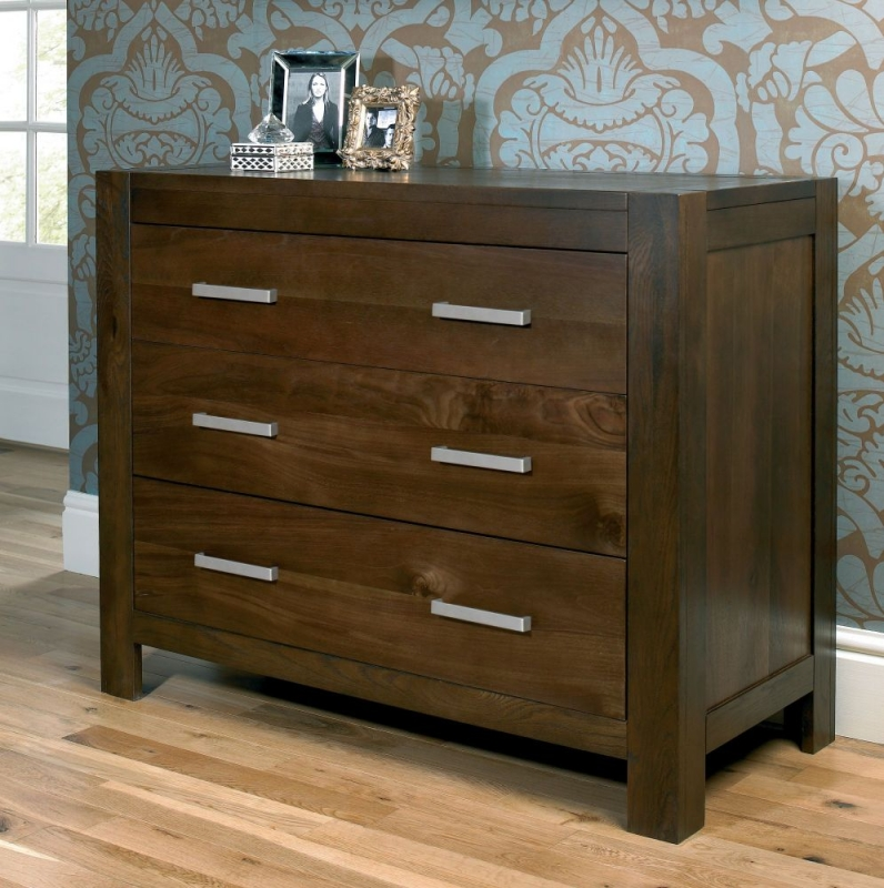Bentley Designs Lyon Walnut Chest of Drawer - 3 Drawer Wide