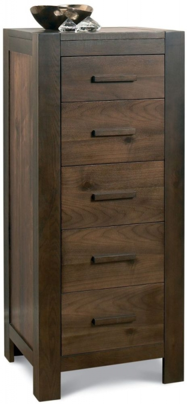 Bentley Designs Lyon Walnut Chest of Drawer - 5 Drawer Tall