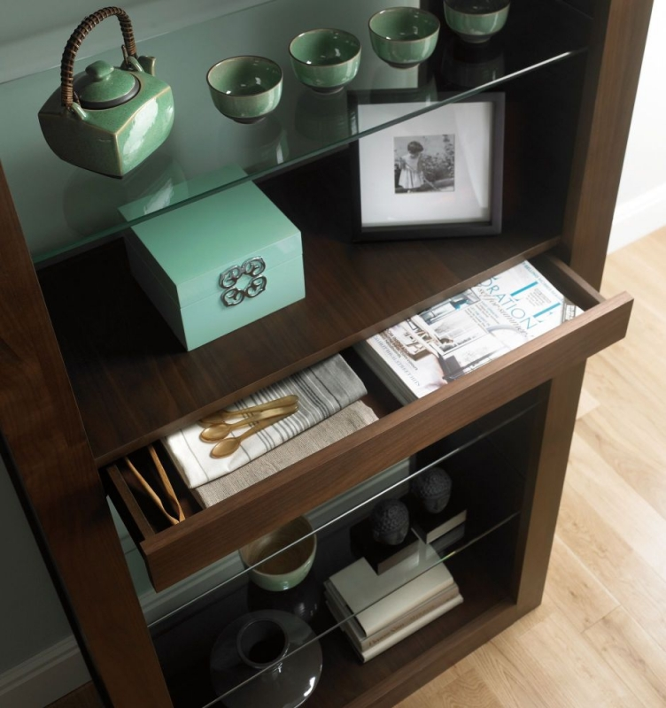 Bentley Designs Akita Walnut Display Cabinet - Open
