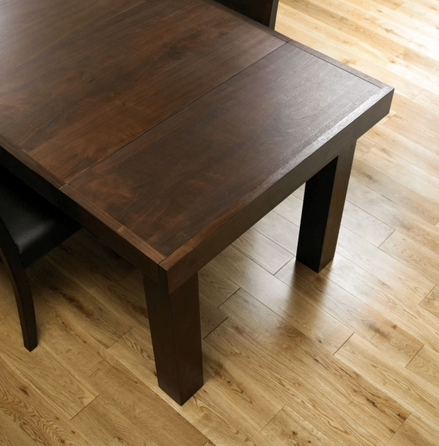 Bentley Designs Akita Walnut Dining Set - 4-6 Seater Extending Table with Brown Faux Leather Slatted Chair
