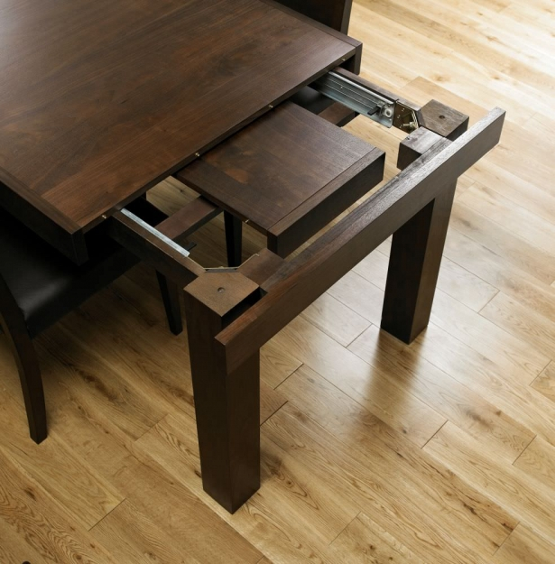 Bentley Designs Akita Walnut Rectangular Extending Dining Set With Brown  Faux Leather Slatted Chairs   160cm