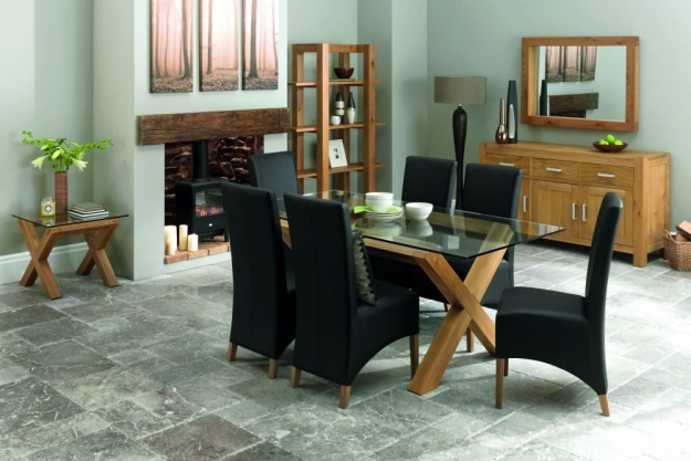 Bentley Designs Lyon Oak Dining Table - Glass