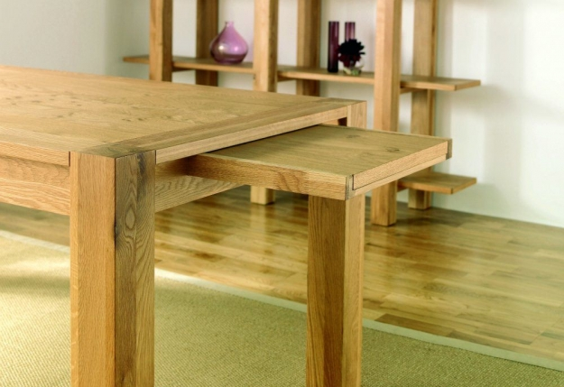 Bentley Designs Lyon Oak Dining Set - 180cm Extending Table with Slatted Chairs