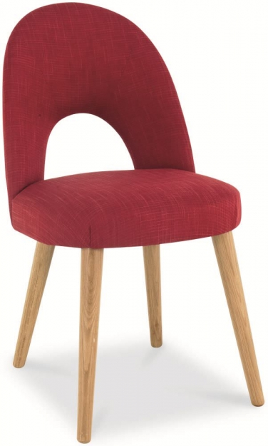Bentley Designs Oslo Oak Dining Set - 6 Seater Table with Red Fabric Chairs