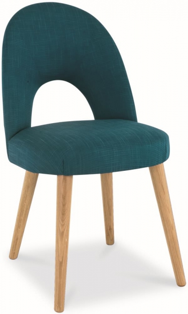 Bentley Designs Oslo Oak Dining Set - 6 Seater Table with Aqua Fabric Chairs