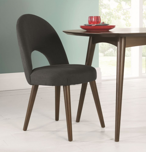 Bentley Designs Oslo Walnut Dining Chair - Charcoal Fabric Upholstered (Pair)