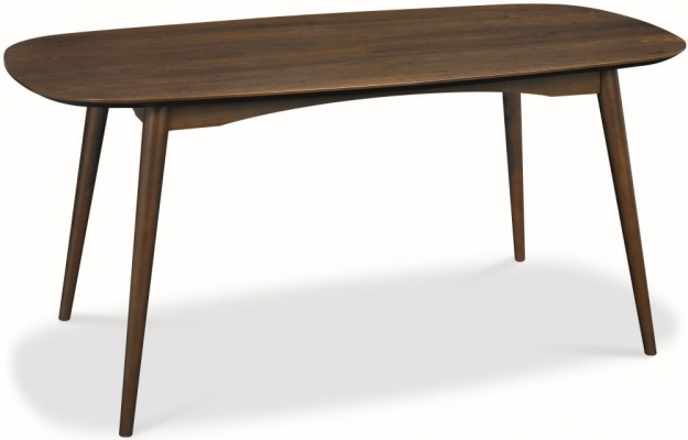 Bentley Designs Oslo Walnut Dining Set - 6 Seater Table with Charcoal Fabric Chairs
