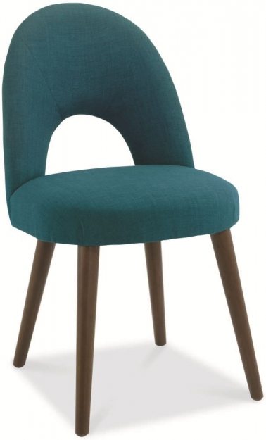 Bentley Designs Oslo Walnut Dining Set - 6 Seater Table with Teal Fabric Chairs