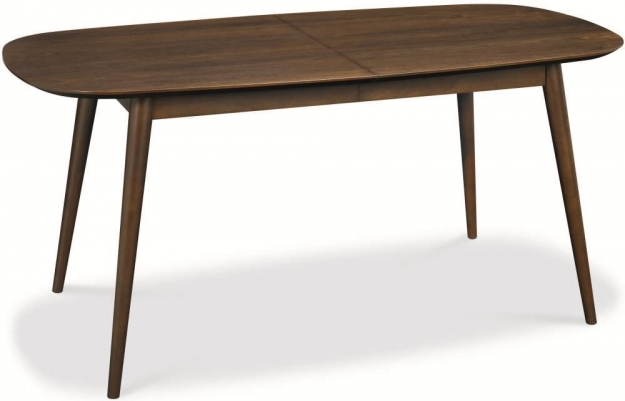 Bentley Designs Oslo Walnut Dining Set - 6-8 Extending Table with Red Fabric Chairs