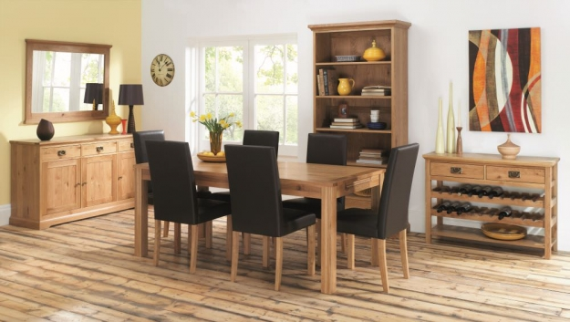 Bentley Designs Provence Oak Dining Chair - Brown Faux Leather (Pair)